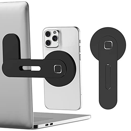 Magnetic Folded Laptop Phone Holder,Portable Aluminum Alloy Office Laptop Phone Holder Computer Extension Bracket for iPhone 12 Series (Black)