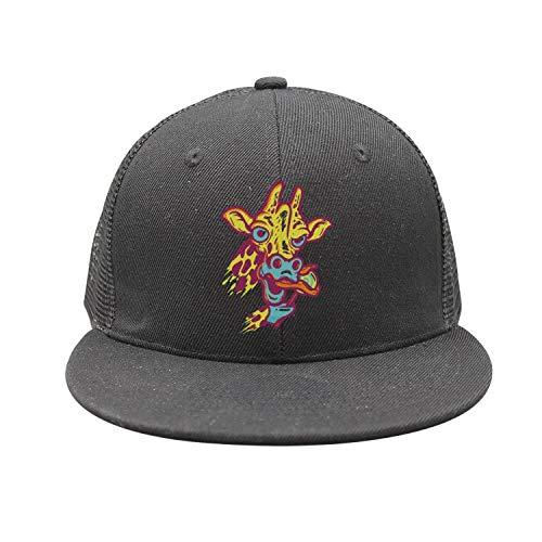 Little Giraffe Lollipop Cap - Cool Giraffe Eating Lollipop Unisex Black Plain Adjustable Peak Cap Best Baseball Hats