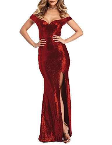 YSMei Women's Long Off Shoulder Sequins Wedding Party Celebrity Dress Split Mermaid Formal Pink 2