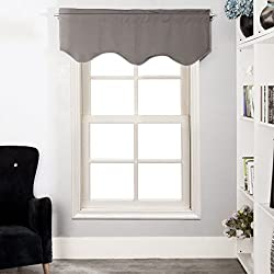Aquazolax Window Scalloped Valances for Bedroom Thermal Insulated Solid Blackout Curtains Scalloped Valances for Kitchen, 52inch by 18inch, Grey, 1 Panel