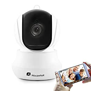 Wireless Security Camera, Houzetek 720P HD Indoor WiFi Home Surveillance IP Camera with Motion Detection, Micro SD Card and Night Vision, Two-Way Audio, ONVIF Support