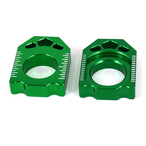 (JFG RACING CNC Rear Axle Blocks Chain Adjuster For Kawasaki KX125 KX250 03-08 KX250F 04-16 KX450F 06-16 KLX450R 08-15 )