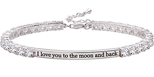 ALOV Jewelry Sterling Silver I Love You to The Moon and Back 4mm Cubic Zirconia Tennis Bracelet
