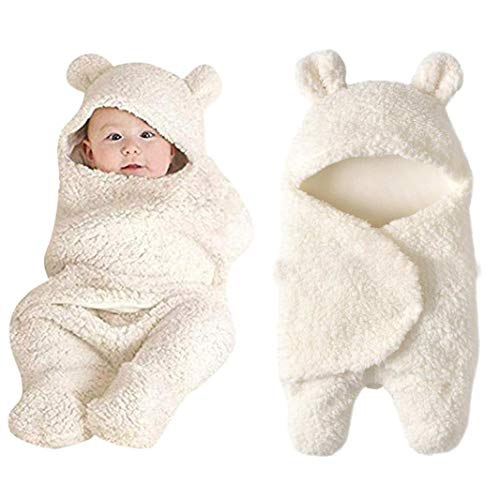 LNGRY Baby Clothes,Toddler Infant Boys Girls Cute Ear Cashmere Sleeping Blanket Wrap Swaddle Photo Clothes (0-12 Months, White)