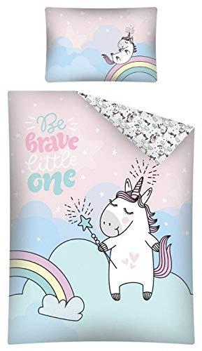 Kinderbettwäsche viele Designs 2-tlg. 100% Baumwolle 40x60 + 100x135 cm (Einhorn)