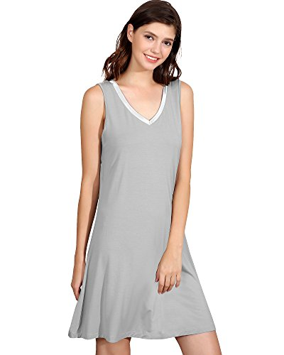 GYS Womens Bamboo Viscose Sleeveless V Neck Nightgown (M, Light Grey)