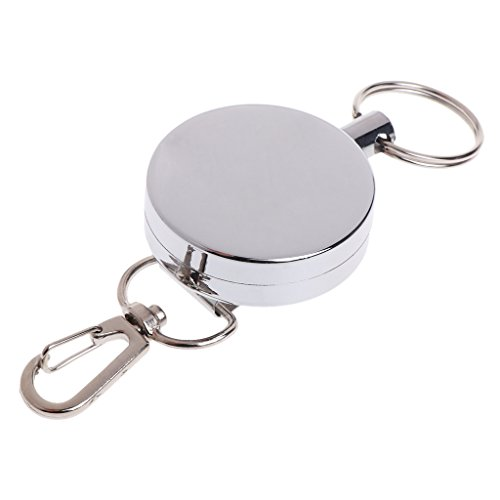 (Lergo Fishing Zinger Retractor Key Ring Reel Holder Retractable Steel Cable Full Metal)