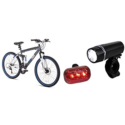 Kent Thruster KZ2600 Dual-Suspension Mountain Bike, 26-Inch and BV Bicycle Light Set Super Bright 5 LED Headlight, 3 LED Taillight, Quick-Release Bundle