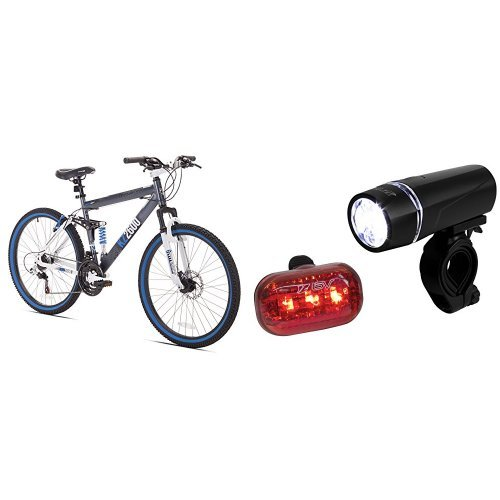 Price comparison product image Kent Thruster KZ2600 Dual-Suspension Mountain Bike, 26-Inch and BV Bicycle Light Set Super Bright 5 LED Headlight, 3 LED Taillight, Quick-Release Bundle