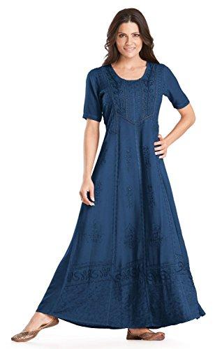 HolyClothing Timandra Victorian Vintage Lace Renaissance Dress - 3X-Large - Blue Divine