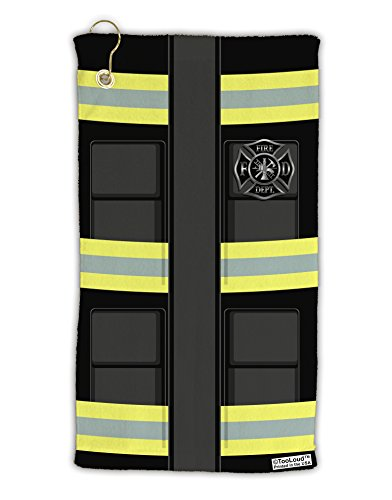 (TooLoud Firefighter Black AOP Micro Terry Gromet Golf Towel 15
