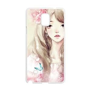 BLACCA teléfono móvil de Cute Girl, flores chica para Samsung Galaxy Note 4
