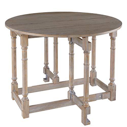 (Gateleg Convertible Dining Table - Farmhouse Style Transforming Table - Space Saving (Burnt Oak))
