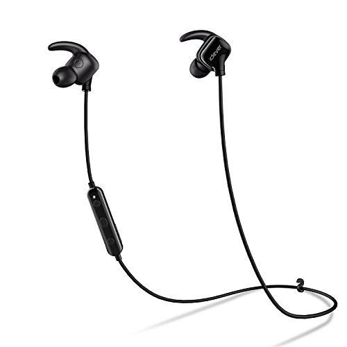 iClever Lightest Bluetooth Running Headphones with Noise Cancelling Mic, Water Resistant, In-Ear Wireless Earbuds, Bluetooth 4.1 for Sports, Black