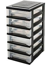 Faites des économies sur Iris Ohyama tour de rangement sur roulettes à 6 tiroirs - Smart Drawer Chest - SDC-360, plastique, noir/transparent, 42 L, 29 x 39 x 63 cm et plus encore