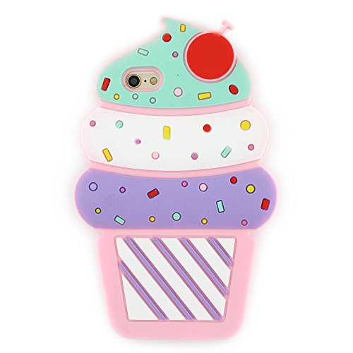 iPhone 6 Case, iPhone 6S Case, 3D Cute Cartoon Cherry Cupcakes Ice Cream Shaped Soft Silicone Case Bumper Back Cover for iPhone 6 / 6S ( 4.7