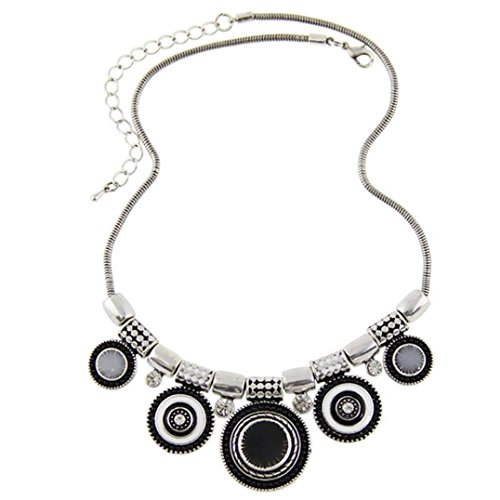 Ethnic Cross (SusenstoneChoker Necklace , Ethnic Vintage Bead Pendant Statement Necklace (Black))