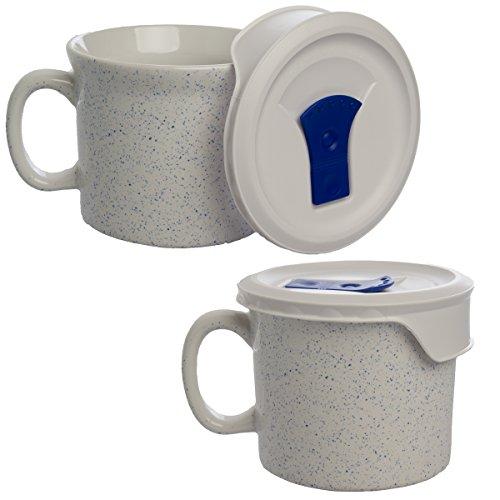 Corningware (2 Pack) Ceramic Soup Mug With Vented Lid Handles 20oz Microwaveable Meal Mug Oven Safe
