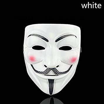 Style Party Masks Mask Anonymous Guy Fawkes Fancy Adult Costume Accessory Party Cosplay Halloween Masks White