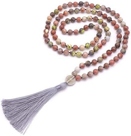 BENAVA - Collar estilo mala de mujer con piedras preciosas, cuentas de jaspe, colgante con borla, multicolor, 100 cm
