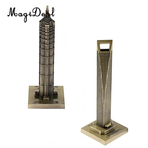 (ZAMTAC 2pcs Vintage Metal Jin Mao Tower Statue and Shanghai World Financial Center Building Statue Figurine Travel Souvenirs Art Crafts - (Color: Bronze, Size: M))