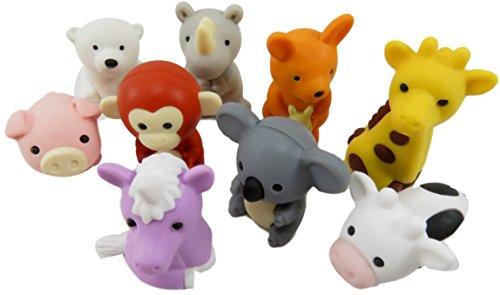 Daiso Help The Purple Unicorn Mini Puzzle Collectible Erasers Unicorn Giraffe Polar Bear Rhino Kangaroo Monkey Koala Pig Cow (Pack of 9)