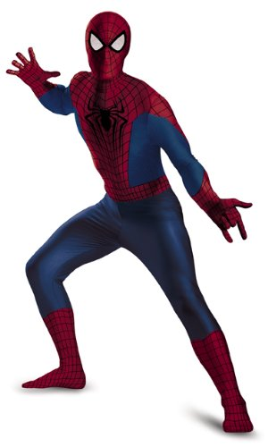 Disguise Men's Marvel The Amazing Movie 2 Spider-Man Bodysuit Costume, Blue/Red/Black, (Mens Black Spiderman Costume)