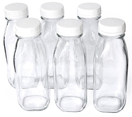 1 Pint / 16 oz Glass Beverage Bottles with Screw On Cap (Set of 6)