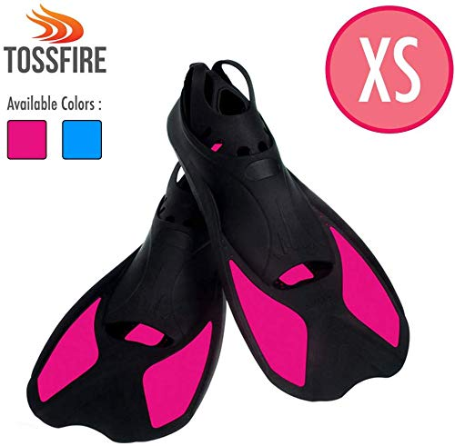 Comfecto Swim Flippers Short Floating Training Fins Size XS for Big Kids Youth Woman Girls Age 8-12 Years Old, Thermoplastic Rubber Swimming Dive Fin for Scuba Diving Snorkel Watersport, Rose Red