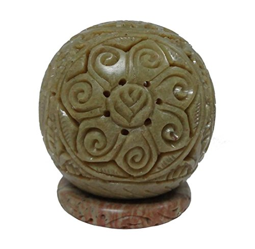 Indian handcrafted marble stone handicraft Marble Pillar Candle Lamp Ball Shape 10 cm Hand Stone Home Decor (Indian Pillar Candle)