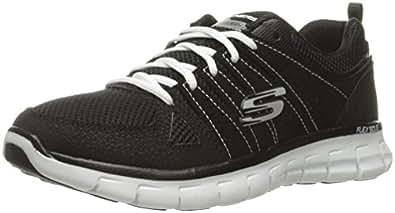 Skechers Sport Women's Synergy Look Book Fashion Sneaker, Black/White, 5.5 M US