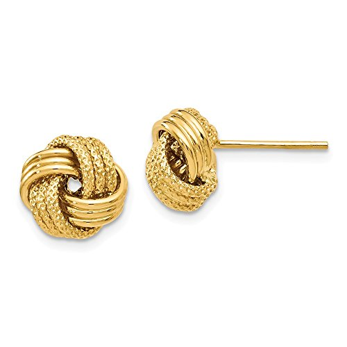 Top 10 Jewelry Gift Leslie's 14k Polished Textured Love Knot Earrings by Jewelry Brothers Earrings