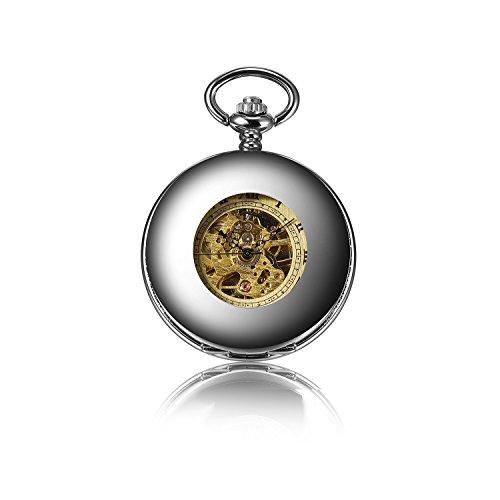 besseron Luxus Retro Silber Gold Skelett Zifferblatt Herren Steampunk mechanische Anhänger Taschenuhr + Geschenk Box