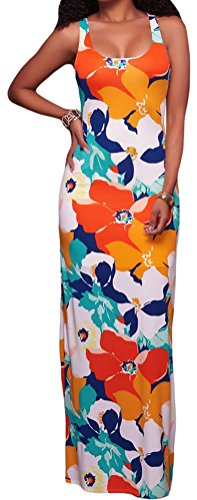 YeeATZ Women's Orangish Multi-color Floral Print Crisscross Back Maxi - Outlet Mall Jersey New Gardens