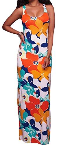 YeeATZ Women's Orangish Multi-color Floral Print Crisscross Back Maxi - Garden Outlet Jersey Mall