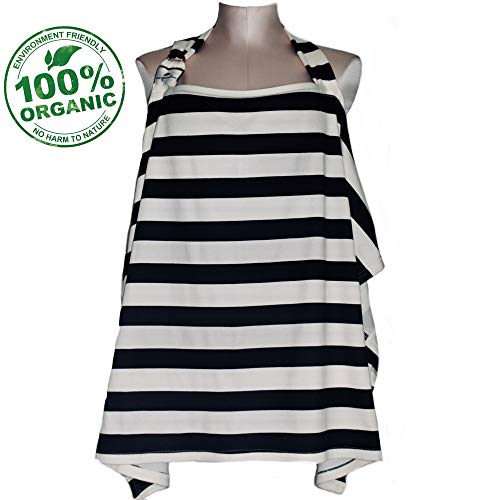 Raw Generation Nursing Cover | Multi-Use Breastfeeding Cover | Nursing Cover for Breastfeeding Babies | 100% Organic Cotton with Wire Hoop | Chic Black & Cream Stripes| Free Pouch Bag| for Boy & Girl -