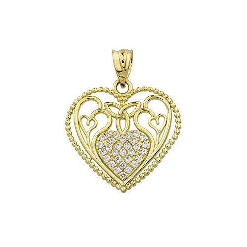 (Fine 10k Yellow Gold Diamond Filigree Heart with Trinity Knot Pendant)