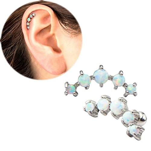 One Piece 16G 1/4''Prong Set Synthetic Opal with curved design to comfortably fit the anatomy of the top
