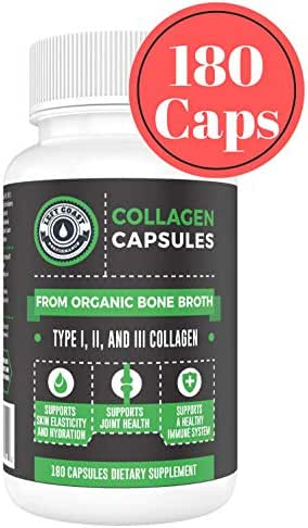 Organic Collagen Pills Supplement - 180 Count Organic Collagen Caps - Organic, Grass Fed Bovine & Organic Chicken Bone Broth. Collagen 1 2 3 Capsules, Left Coast Performance