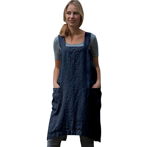 Womens Vintage Cross Back Sleeveless Apron Overall Tunic Dress, Casual Baggy Pinafore Midi Dress With Pockets S-2XL (Blue, XX-Large)