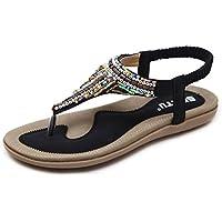 c0e1ce641cccbc DolphinBanana Women s Bohemian Beaded Summer Flat T-Strap Thong Sandals
