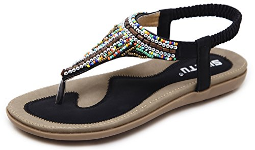 Women's Bohemian Beaded Summer Flat T-Strap Thong Sandals, Classic Black Open Toe Glitter Rhinestone Shiny Candy Colored Beads Shoes for Dressy Casual Jeans Daily Wear and Beach Vacation Amazon Choice,Black & Candy,8.5 M US