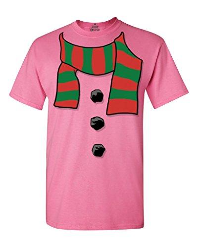 Shop4Ever Snowman Scarf Costume T-shirt Funny Xmas Shirts X-Large Azalea Pink 17501 (Ladies Snowman Costume)