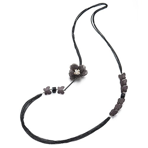 iMECTALII Black Long Chain Statement Necklace Multi-Strand with Flower and Butterfliers Charms Pendant