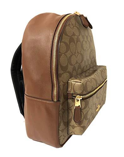 Coach Womens F32200 Medium Charlie Backpack BookBag Khaki Saddle Signature