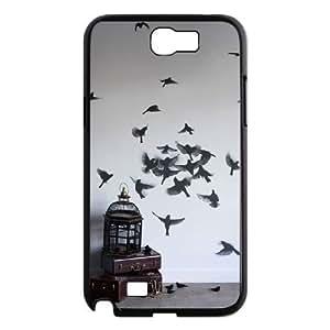 Diy Flying Birds Phone Case for samsung galaxy note 2 Black Shell Phone JFLIFE(TM) [Pattern-3]