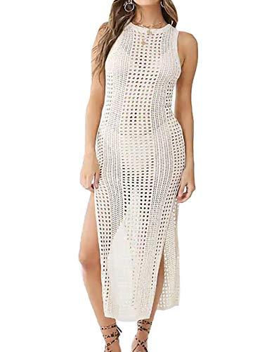 (Bestyou Women's Side Split Maxi Dress Crochet Swimwear Cover Ups Swimwear (Off White C))