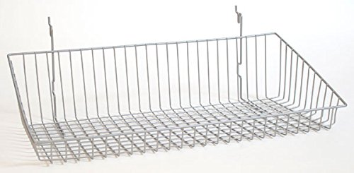 Sloping Basket Slatwall Gridwall Pegboard Display Fixture Lot of 6 Chrome NEW