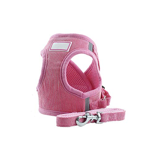 Encounter_meet Dog Cat Harness Vest Adjustable Walking Lead Leash for Puppy Dogs French Bulldog Reflective Soft Dogs,Pink,S]()