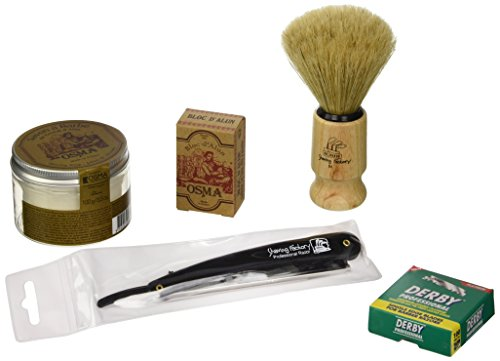 Shaving Factory Rasur Geschenk Set inklusive Shaving Factory Gerades Rasiermesser, 100 Derby Professionelle Einzelklingen Rasierklingen, Alum Seife, Alaunstein Bloc Osma, Shaving Factory Hand gefertigter Rasierpinsel